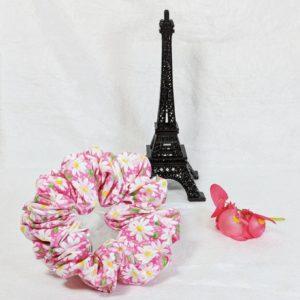 Daisies on Pink Cotton Hair Scrunchy