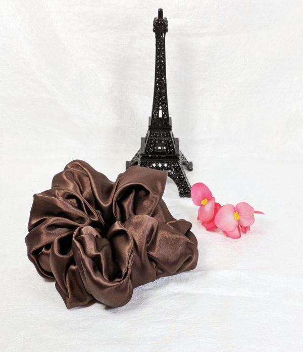 Chocolate Brown Silk Charmeuse Scrunchy-Jumbo