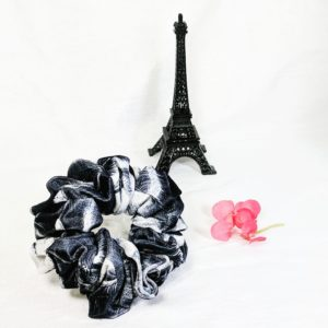 Black and White Print Velvet Scrunchies