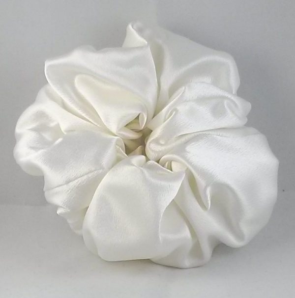 Biscuit white satin Scrunchy-Large