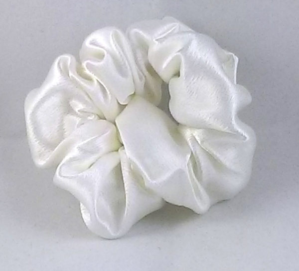 Biscuit white satin Scrunchy-Small